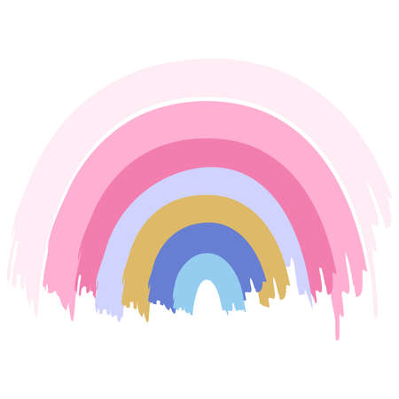 Cute hand drawn watercolor pastel rainbow isolated on white background