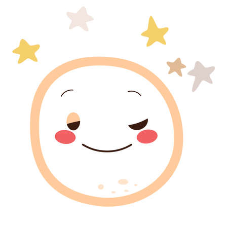 Illustration of cute drowsy moon character with stars