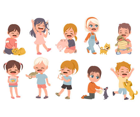Set of children with different domestic and exotic pets Illustration