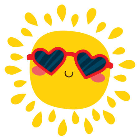 Happy cute sun cartoon character wearing red sunglasses isolated on white background Illustration