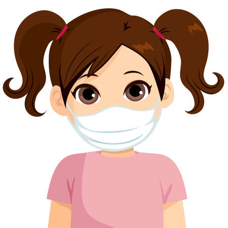 Beautiful little girl wearing medical mask protect from virus Illustration