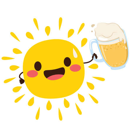 Happy cartoon sun mascot character drinking cold beer isolated on white background