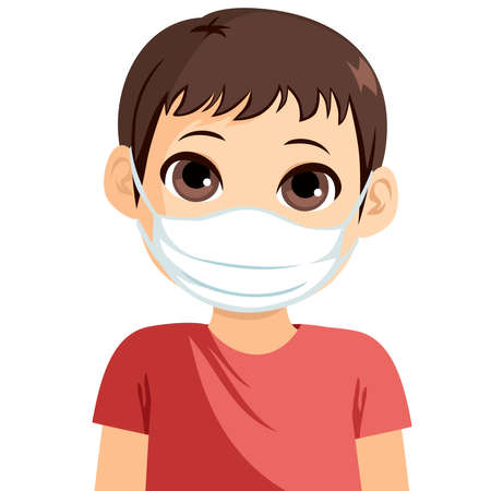 Young little boy wearing medical mask protect from virus