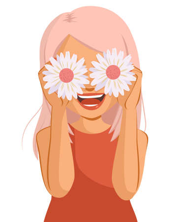 Beautiful cheerful woman with big smile holding white daisy flowers covering her eyes