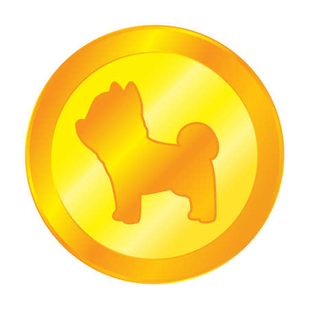 Dog gold coin icon symbol digital cryptocurrency