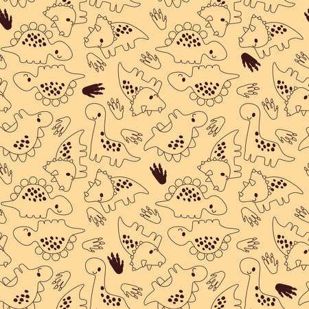 Cute outline dinosaur doodle seamless pattern for fashion clothes or printed paper decoration
