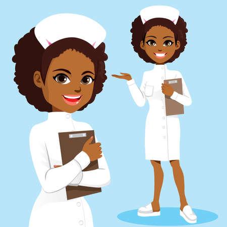 Beautiful young black African American nurse wearing white uniform holding folder