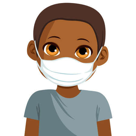 Cute black African American little boy wearing medical face mask protect from virus