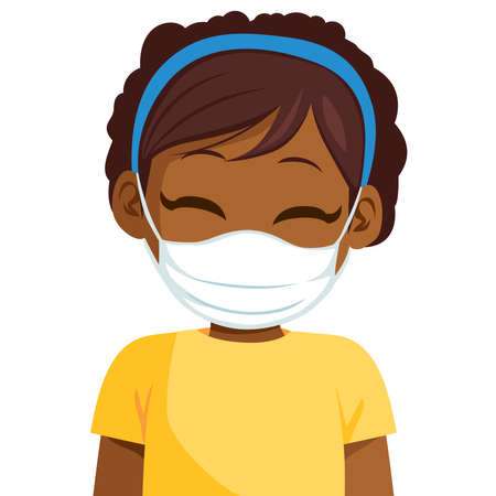 Cute black African American little girl wearing medical face mask protect from virus Illustration
