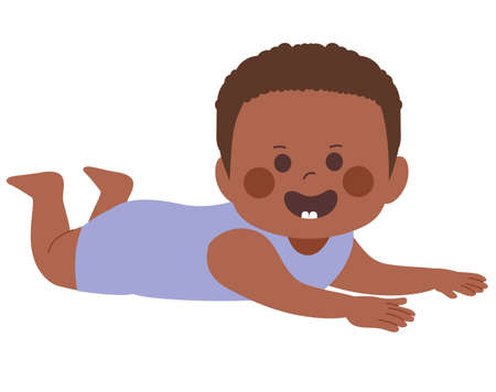 Little black African American baby boy smiling showing first teeth on tummy time pose Illustration