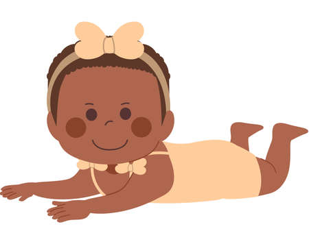 Cute black little baby girl smiling happy on tummy time pose exercise Illustration
