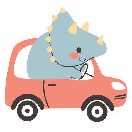 Cute triceratops dinosaur riding red car automobile