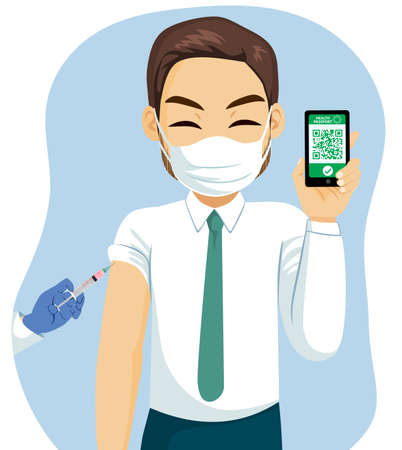 Happy businessman wearing face mask holding covid pass app on smartphone Covid-19 Vaccination Health Passport concept