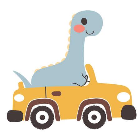 Cute happy diplodocus dinosaur riding yellow convertible car