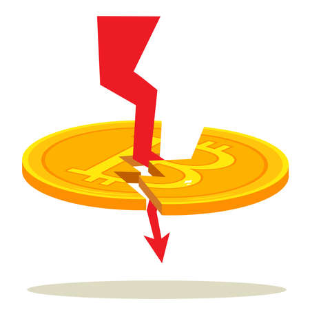 Red arrow breaking bitcoin coin cryptocurrency fail concept