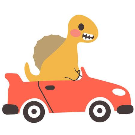 Cute Spinosaurus dinosaur driving red convertible sports car
