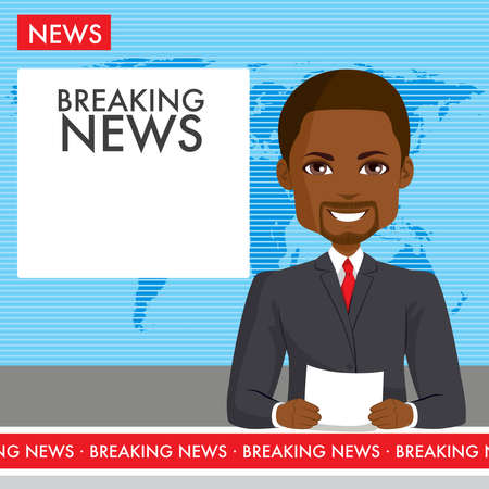 Black male anchor reporting breaking news live on television channel