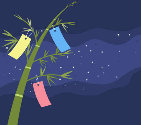 Bamboo trees and Japanese Tanabata star festival holiday decoration on starry dark night Illustration