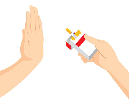 Palm hand up refusing cigarette stop smoking concept