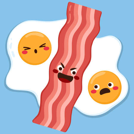 Cute couple of eggs with sad expression and bacon slice in the middle separating them