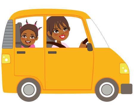 Young black mom on yellow car with smiling daughter sitting on the back seat Illustration