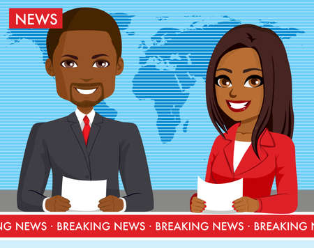 Black male and female newscasters presenting breaking news show