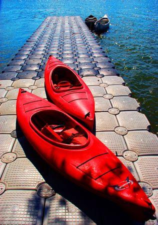 cayak: canoe on the dock