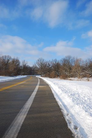 rural highway in snowy day photo