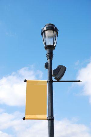 streetlight with blank banner
