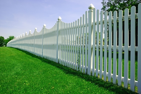 white picket fence: white fence Stock Photo