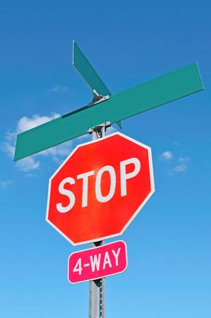stop sign with blank street sign photo