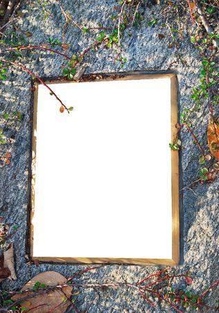 white frame on the stone photo