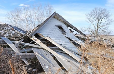 tornado wind: demolished house in the countryside