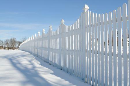 white fence on the snow Stock Photo - 6411939