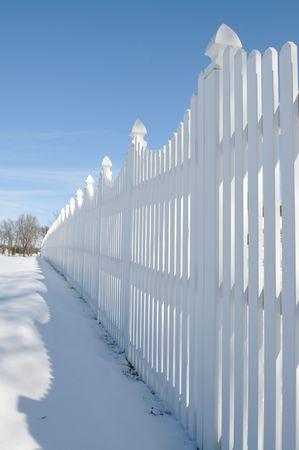 white fence on the snow Stock Photo - 6411938