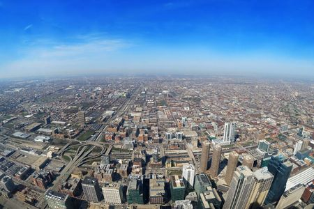aerial view of the city of chicago Stock Photo