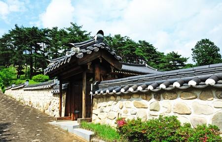 Corea pared tradicional y puerta