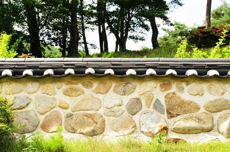 asian house plants: korean traditional wall Stock Photo