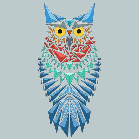 Vector geometric owl consisting of triangles. Vector Illustration