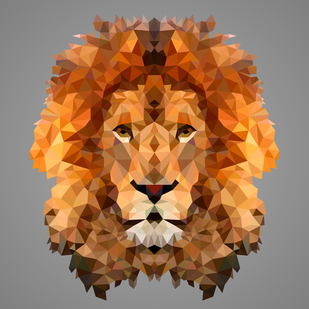 Lion low poly portrait. Low poly design.