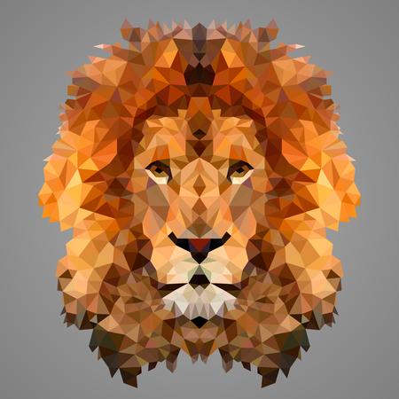 Lion portret low poly. poli Niski.