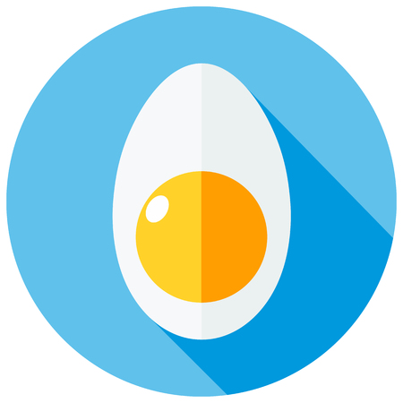 boiled: Vector icon sliced boiled egg style flat. Vector flat design. Illustration