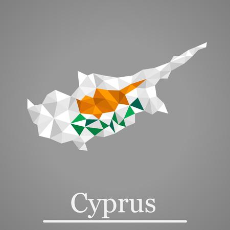 Geometric polygonal design map of Cyprus. Geometric vector Cyprus flag colors.