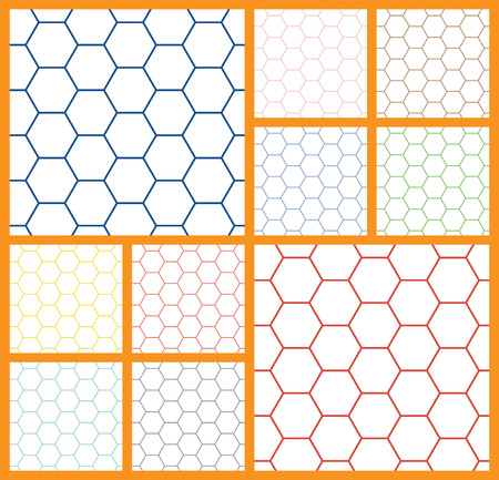 gray netting: Vector seamless abstract pattern. Wave patterns. Colored hexagonal cell on a white background.