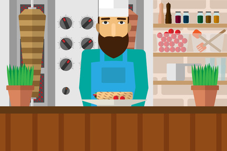middle eastern food: Making Kebab.  Vector illustration flat. Meal in a restaurant, cafe. Catering business