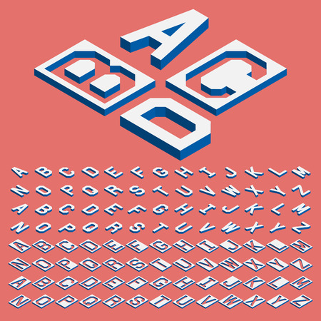 threedimensional: Isometric alphabet vector font. Three-Dimensional stock vector. Isometric letters.