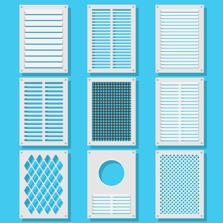 shutters: Illustration of vertical ventilation shutters. Set ventilation shutters different type. Isolated vector illustrations. Vector illustration flat. Illustration