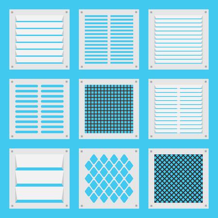 Illustration square ventilation shutters. Set ventilation shutters different type. Isolated vector illustrations. Vector flat illustration.