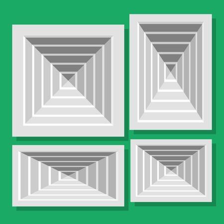 shutters: Illustration ceiling ventilation shutters. Set ventilation shutters different type. Isolated vector illustrations. Vector flat illustration.