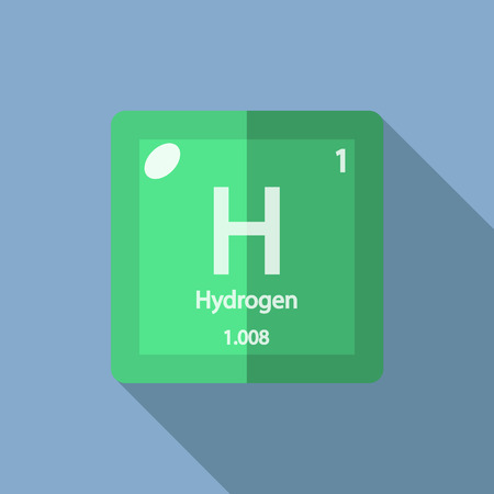 Chemical element Hydrogen. Flat design style modern vector illustration. Isolated on background. Elements in flat design. Illustration